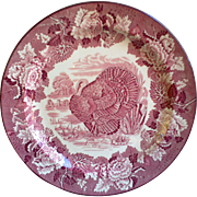 "Red Turkey Plate, ""Enoch Wood's Burslem"", Dinner Plate, 10"", Red Transferware"