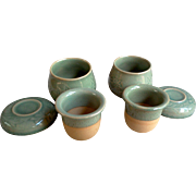 Chinese Green Pottery Tea Cups with Tea Infuser Inserts - Red Tag Sale Item