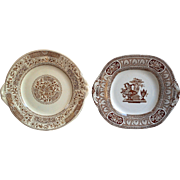 Brown Transferware Set of 2, Cake Plates, Korti and T.G.B Vase ~ FREE SHIPPING IN USA