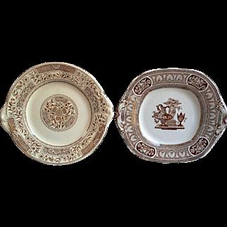 "Brown Transferware Set of 2, Cake Plates, Antique ""Korti"" and T.G.B Vase Pattern"