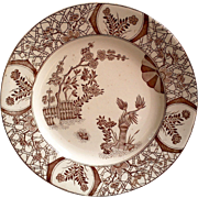English Aesthetic Brown Transferware Plate - Kioto 1880