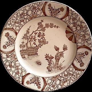 English Aesthetic Brown Transferware Plate - Kioto 1880
