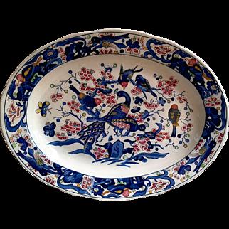 Multi Colored Polychrome Large Ironstone Pheasant Platter