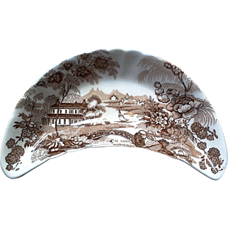 Royal Crownford Tonquin Brown Transferware Ironstone Bone Dish