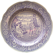 Spode Purple Transferware Dinner Plate ~ Woodmans Archive Collection
