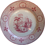 Wedgwood Red Transferware Plate ~ Singanase ~ Ironstone ~ FREE SHIPPING USA