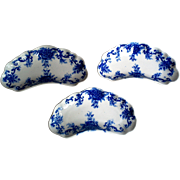 Flow Blue Bone Dishes ~ Bridgett & Bates Martha Flow Blue Ironstone Bone Dishes, Set of 3