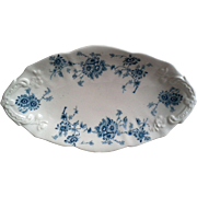 Winkle Colonial Pottery Millais ~ Teal Blue Transferware ~ Pickle Relish Plate Dish, C 1900