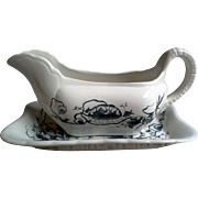 Gravy/Sauce Boat and Liner Turner Tunstall Black and White Transferware Ironstone