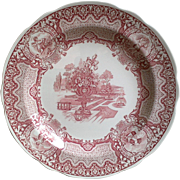 Spode Archive Red Transferware Seasons ~ June ~ Dinner Plate