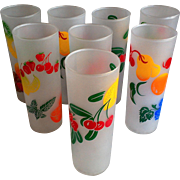 Federal Frosted Tom Collins 8 Tall Glasses - Fruit Motif - Set of 8 - 1950-60's era