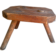 19th Century Wooden Mortised Milking Stool