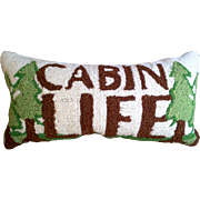 Hand Hooked ~ Needle Punched Pillow ~ Cabin Life