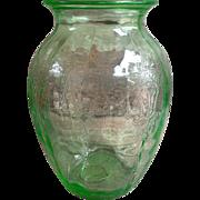 Large Vintage Green Depression Glass Vase by Anchor Hocking