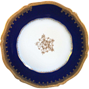 "ANTIQUE PLATE, Cobalt Blue and Gold 9"" Plate by Theodore Haviland, Limoges, France, 1800s"