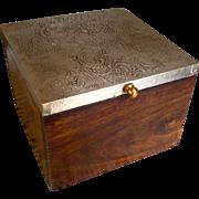 Wooden & Metal Lidded Sewing Box ~ Trinket Box