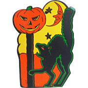 Halloween Black Cat Jack O Lantern with Moon Paper/Cardboard Hanging Decoration