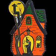 Vintage Haunted House Halloween Beistle Die Cut Cardboard Paper Decoration