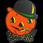 Vintage Pumpkin Man Halloween Beistle Die Cut Cardboard Paper Decoration