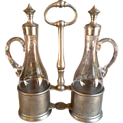Pewter Cruet Set, Oil and Vinegar Set, Glass and Pewter