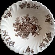 "Brown Floral Veggie Bowl, Myott Staffordshire ""Bountiful"""