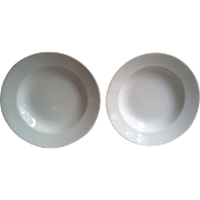 White Ironstone Set of 2 Shallow Bowls, John Maddock
