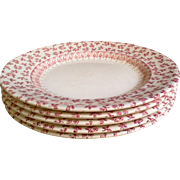 Red Transferware Ironstone Floral Set of 5 Plates
