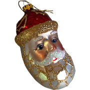 Large Glass Santa Head Tree Ornament