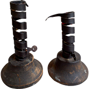 Primitive Chamberstick Candlestick Holders Wood and Metal