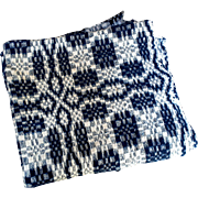 Indigo Blue and White Woven Coverlet Remnant Cut