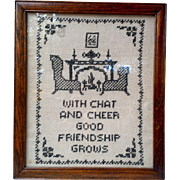 Antique Sampler Cross Stitch Needle Point - Friends Chat