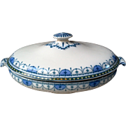 19th C. Blue and White Ironstone Covered Tureen Dish