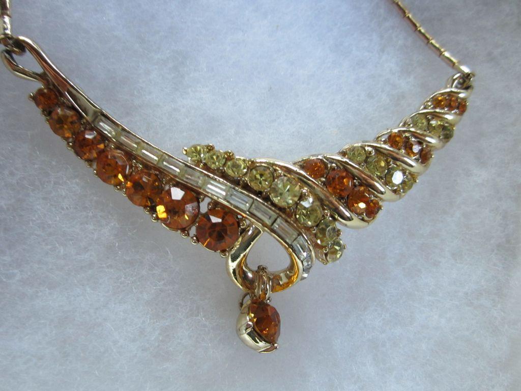 Lovely Coro signed Vintage Golden Topaz Rhinestone Necklace