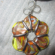 Murano Glass Hand Blown Flower Venice Italy Pendant Necklace