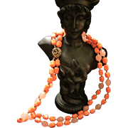 Vintage Coral & Pink 2 strand Beaded Necklace with Rose Clasp