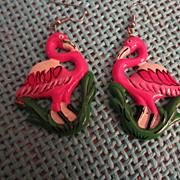 Vintage Pink Flamingo Earrings Hand Painted *** Fun & Funky