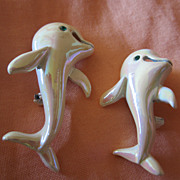 Pair of Dolphins Iridescent White Vintage Enamel Pins
