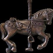 Fabulous Vintage Handcast Bronze Carousel Pin