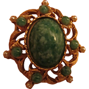 Fabulous Jade Art Glass and fx Pearl Vintage Brooch Pin