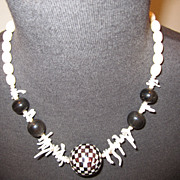 Fabulous White Coral & Mother of Pearl and Onyx Organic Necklace