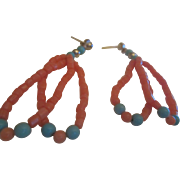 Genuine Coral & Turquoise Dangle Earrings Native American Southwest