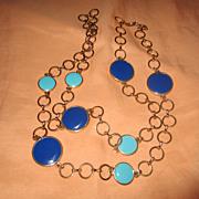 "Mid Century Modern Enamel 30"" Necklace"