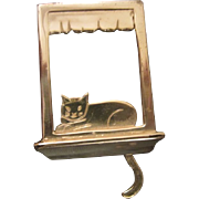 Vintage Sterling Silver Cat with articulated Tail on Windowsill Pin