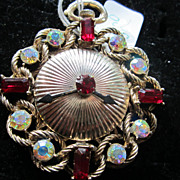 Wonderful Rhinestone Clock Face Vintage Brooch Pin Timeless