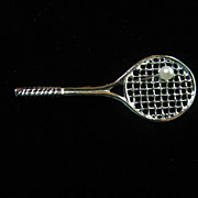 Classic Sterling Silver & Genuine Cultured Pearl Tennis Racquet Vintage Brooch Pin