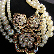Magnificent Swarovski Triple Strand faux Pearl Necklace with Matching Earrings (marked SAL)