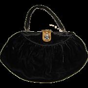 Art Deco Great Gatsby  Black Velvet Vintage Purse Bag with Fabulous Deco Step Rhinestone Closure
