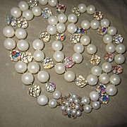Fabulous Huge faux Pearls and Crystal Double Strand Necklace Statement Piece