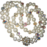 Fabulous Double Strand Crystal & Pearl Necklace Statement Piece