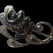 Sterling Silver Art Deco Filagree Hematite Vintage Brooch/Pin